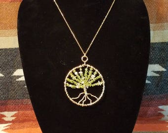 Tree of Life Pendant with Green Peridot and Rose Quartz