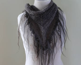 Icelandic and alpaca hand spun/crafted shawlette