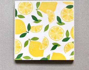 Set of 4 - Summer Lemon Coasters - lemon slice coasters - citrus fruit coasters - yellow and white coasters -food coasters