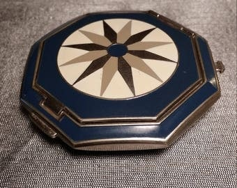 Vintage Art Deco Richard Hudnut le Debut Enamel Compact with mirror and Rouge (Unused)