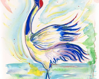 Crane Singing to the Sun Original Watercolor Painting on Arches Paper
