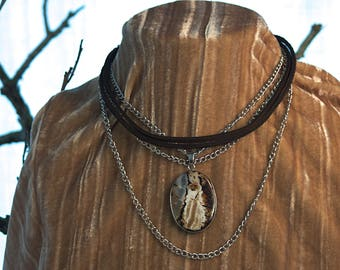Silver chain and leather necklace with a beautiful amber agate