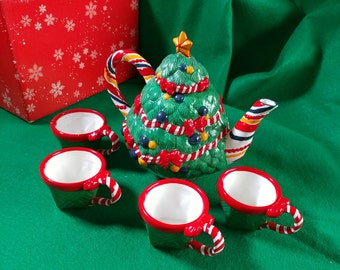 Department 56 Christmas Teapot Set Christmas Tree Ceramic Tea Cups Retro Vintage Throwback