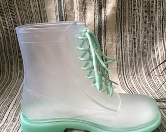 Size 8, Turquoise and Clear Rain Boots by Atmosphere
