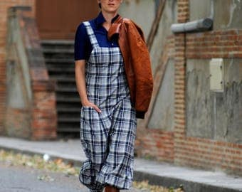 overalls with checkered pattern