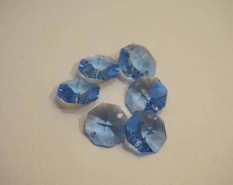 Pendants 6 Octagon blue - 2 holes