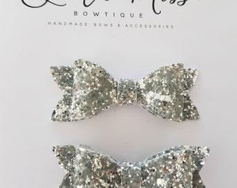 Silver Hair Bow