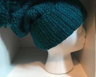 Crocheted slouchy teal winter hat