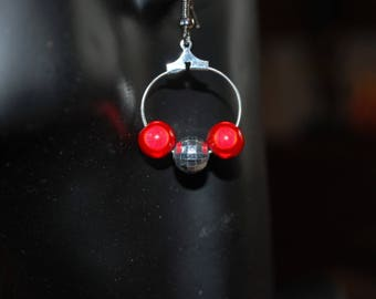 Red miracle and disco bead Earrings