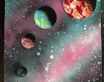 Spray Paint Art - The Sun, Venus Mercury, Earth, and Mars