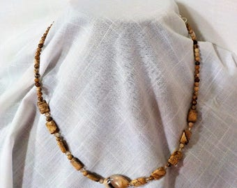 "Ladies Handmade 21"" Necklace with JASPER and Swarovski Crystals"