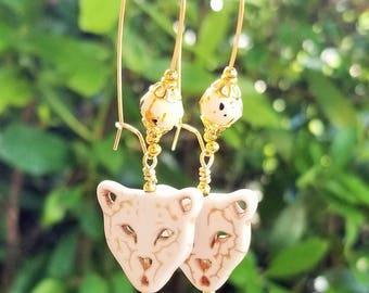 White Lion Earrings