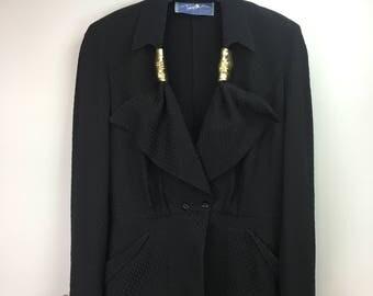Vintage Thierry Mugler Silk/Wool Shoulderpadded 80's Blazer Black/Gold