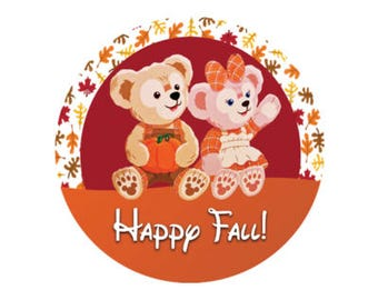 Happy Fall with Duffy Bear and ShellieMay - Autumn Button - Fall Button - Theme Park Button - Disney Park Button