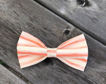 Salmon Stripes pet bow tie