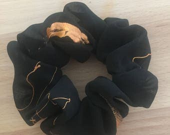 Large Handmade Unique Chifffon Scrunchie. Black with a random copper/gold pattern.