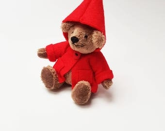 Mini Brown Teddy Bear / Baby Bear with Red Jacket / Articulated Doll / Handmade Plushie / Stuffed Animal
