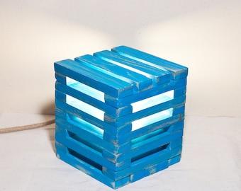 Wood lamp Wooden cube lamp Blue light lamp Table wood lamp Little blue lamp Simple wood lamp Led cube lamp Night blue lamp Bedside lamp