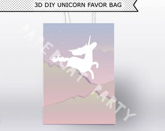Believe in Unicorns Favor Bag/ Unicorn Birthday Favors/ Gift bags/ Goody/ Loot/ Printable Decoration/ Paper PDF kit instant Download/ DIY