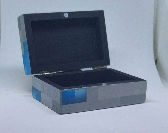 Minecraft inspired diamond Chest trinket box Ideal for Kids