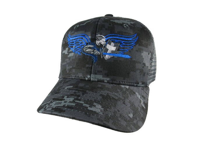 Saint Michael Archangel Thin Blue Line Symbolic Blue Embroidery on a Charcoal Digital Camouflage Structured Adjustable Trucker Style Cap