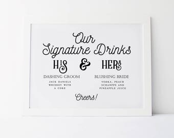 His And Hers Signature Drink Sign, Wedding Signage, Personalized Sign, Custom Wedding Sign, Signature Drink Sign, Wedding Bar Sign