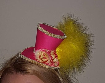 Pink and yellow mini top hat fascinator