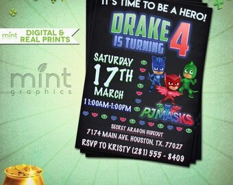 PJ Masks Invitation, Pj Mask Invitation, Pj Mask, Pj Masks, Pj Masks Birthday, Pj Masks Printable, Pj Masks Invite, Pj Masks Party,