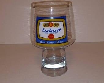 Labatt Blue Beer Glass PEDESTAL Bottom VERY NEAT