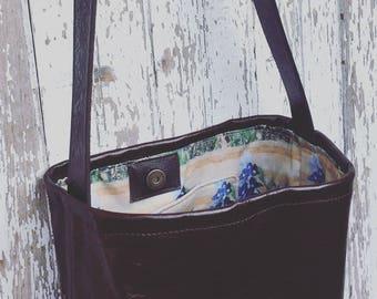 Leather Blue Bonnet Tote Bag