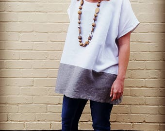 White & Sage Oversized Colour Block Top