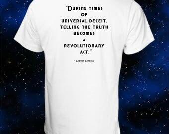 Orwell 1984 T-Shirt - Universal Deceit - George Orwell - Big Brother - War is Peace - Ignorance Is Strength - Anti-War T-Shirt - Newspeak