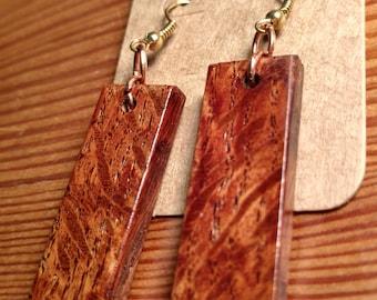 Handmade rectangular wood earrings
