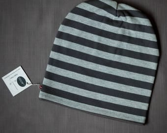 Striped unisex beanie hat Slouchy jersey beanie with cotton lining Autumn/spring hat for women/men/teen Scull hat for outdoor activity