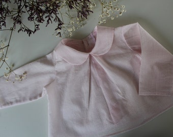 Blouse with white Peter Pan collar with pink polka dots baby