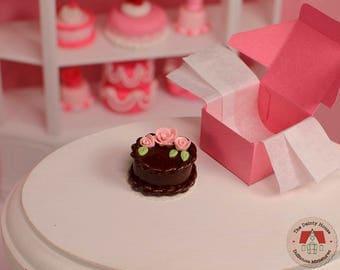 Miniature Cake with Flowers - Chocolate, Dollhouse Chocolate Cake, 1:12 Scale Dollhouse Dessert