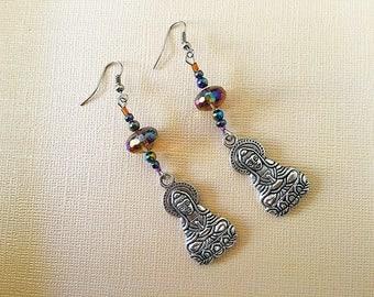 Glass Earrings, Handmade Earrings, Yoga Earrings, Buddha Charm Earrings, Handmade Earrings by JustDreaminCo