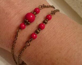 Bronze and red beads