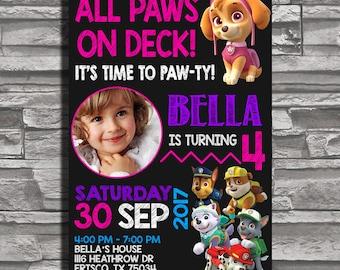Paw Patrol Chalkboard, Paw Patrol Birthday Invitation, Paw Patrol Invitation, Paw Patrol Party Invitations, Paw Patrol Birthday Party
