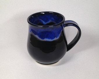 pottery mug, ceramic mug, coffee mug, tea mug, black mug, blue mug, handmade pottery, Beth Deutscher