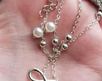 2 piece infinity pearl anklet