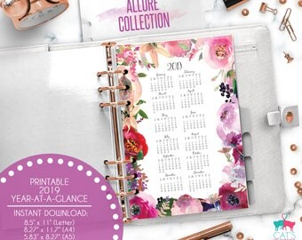 Printable Calendar A5 A4 Letter Watercolor Planners 2019 Year at a Glance | Allure Floral Collection | ACYG19