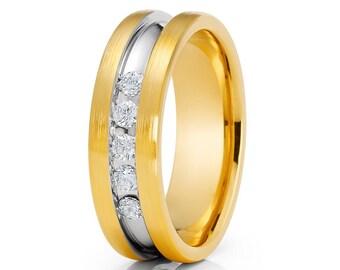 14K Yellow Gold Diamond Wedding Band Men & Women Brush Wedding Band Engagement Ring