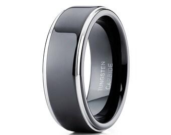 Men's Tungsten Wedding Band Men & Women Black Tungsten Ring 8mm Wedding Band Tungsten Carbide Ring Engagement