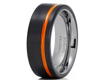 Black Tungsten Wedding Band Orange Tungsten Ring Anniversary Ring Men & Women Orange Wedding Band Gunmetal Ring