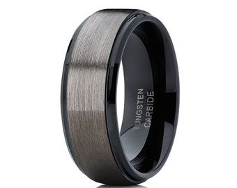 Tungsten Wedding Band Gunmetal Tungsten Wedding Ring Men & Women Tungsten Carbide Ring Anniversary Tungsten Ring