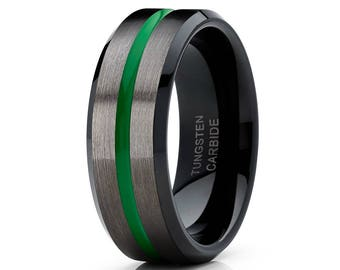 Green Tungsten Wedding Band GUNMETAL Tungsten Wedding Ring Green Wedding Band Black Tungsten Ring Men & Women Comfort Fit