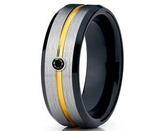 Black Diamond Tungsten Ring Yellow Gold Tungsten Band Men & Women Tungsten Carbide Ring  Anniversary Band Silver Brush