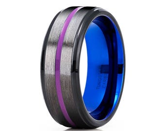 Purple Tungsten Wedding Band Gunmetal Tungsten Ring Blue Tungsten Wedding Band Men & Women Black Tungsten Wedding Band