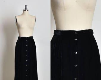 Maxi Long skirt, Elegant skirt, Black skirt, Velvet skirt, button down skirt, womens skirt, classic skirt, high waist skirt, midi skirt